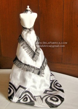 Miniature Replica of Follies Musical Black And White Outfit With Headdress Back View