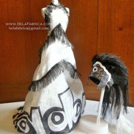 Miniature Replica of Follies Musical Black And White Outfit With Headdress Front View
