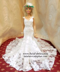 Miniature Replica of Kitty Chen Couture - 2017 Ivoire Firenz - model Mariela V1708 Front View Barbie