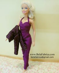 Selena Quintanilla Purple Jumpsuit with jacket on arm miniature replica