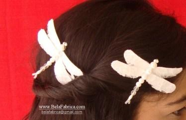 dragonfly hair clips bridal by belafabrica