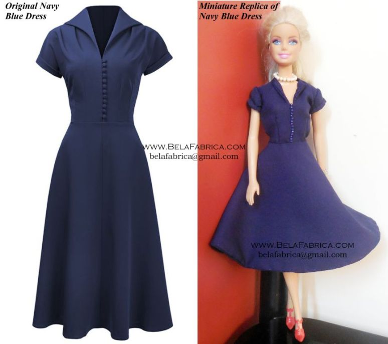 Comparison of Miniature Dress with Original dress - Navy Blue 60s Knee length dress for fashion doll