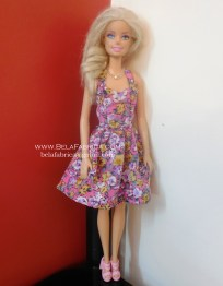 Miniature Floral Short Dress for Barbie Doll