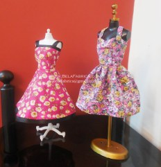 Miniature Pink Floral Short Dress and Purple Floral Short dress for Barbie Doll and mannequins