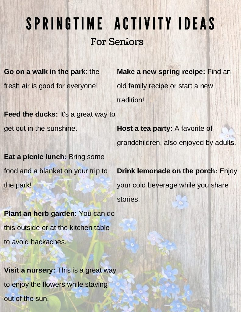 Springtime activities for seniors
