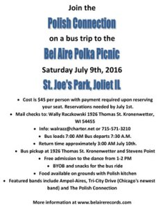 Bel-Aire Day Picnic Bus Trip Flyer