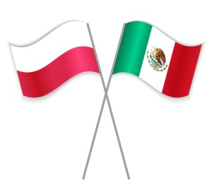 Polish and Mexican crossed flags. Poland combined with Mexico isolated on white. Language learning, international business or travel concept.