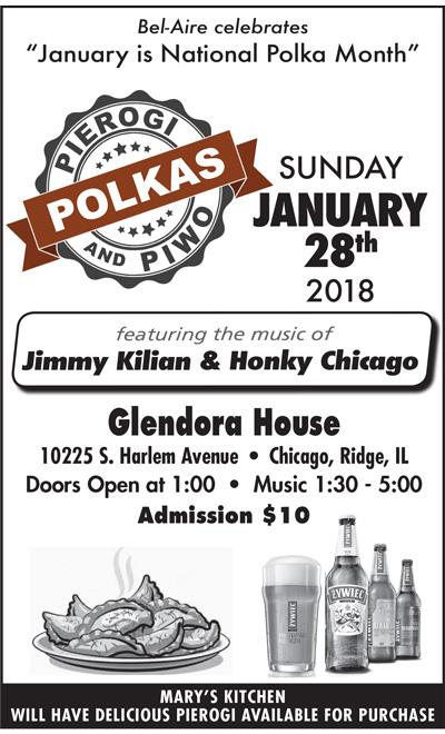 "Bel-Aire celebrates ""January is National Polka Month"" Polka, Pierogi & Piwo dance featuring Jimmy Kilian & Honky Chicago"