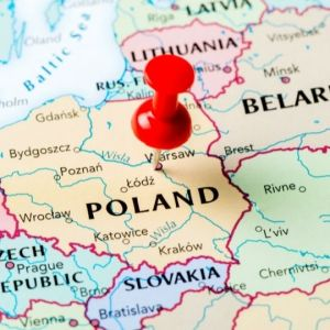 map of poland with push pin