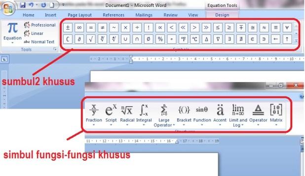 tampilan toolba rumus matematika microsoft word 2007 - 2010