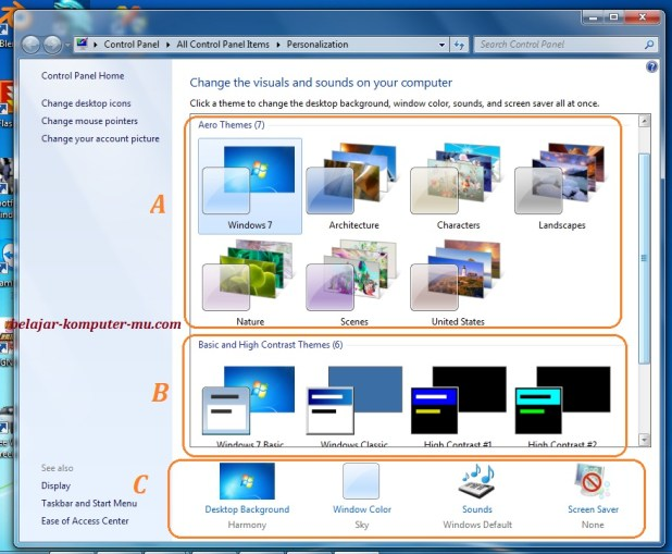 cara mengganti tema windows 7 seven