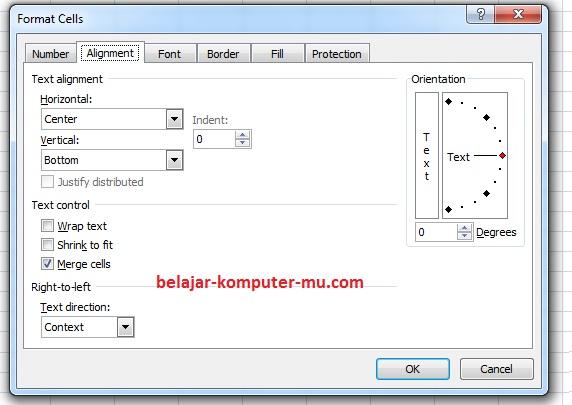 Cara Membuat Format Alignment Worksheet Microsoft Excel 2003 2007 4