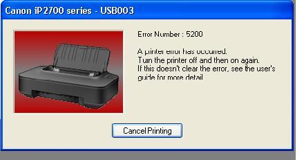 Cara mengatasi error number 5200 printer Canon Pixma iP2770