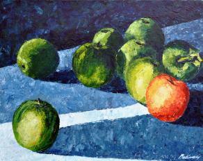 Csendélet almákkal, 40 x 50 cm, Jótékonysági aukción elkelt Szatmárnémetiben