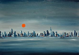 Sunset over the city, 50 x 70 cm, Magántulajdon