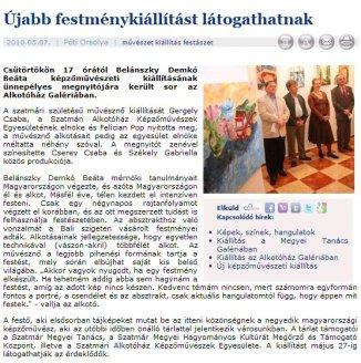 Szatmári kiállításról cikk a Szatmar.ro-n