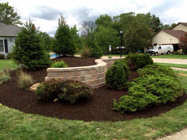 Completed new retaining wall with landscaping