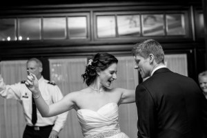 Bride having a great time at her reception