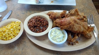 Fried chicken and catfish (plus another plate of catfish not shown).