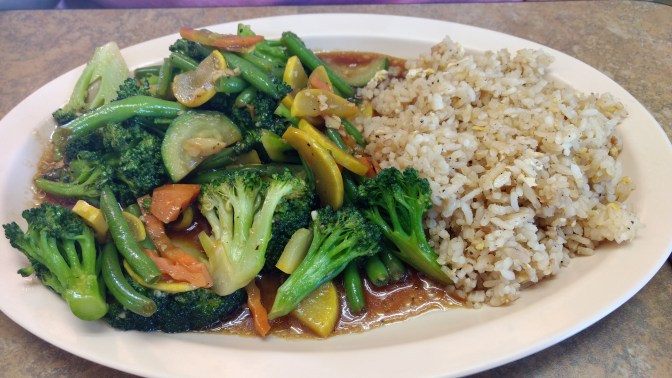 Sitr-fry vegetables and rice.