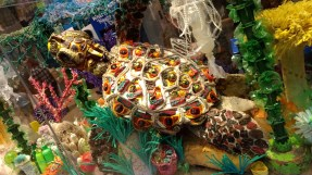 Tortoise made from discarded plastic found in the ocean. Part of an exhibit about ocean pollution.