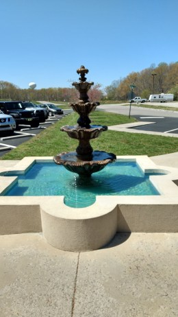 Fountain in front of winery.