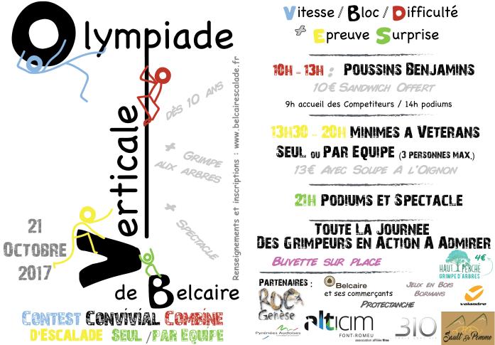Programme de l'Olympiade Verticale de Belcaire 2017 : un contest convivial d'escalade en combiné