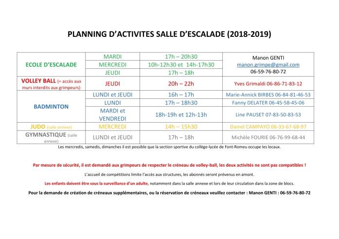 planning activité 2018-2019