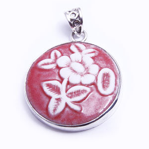 Serene porcelain and silver pendant