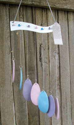 Pink purple blue windchime - a chime to charm