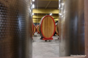 Funny looking, oval shaped foeder at 3 Fonteinen, Lot.