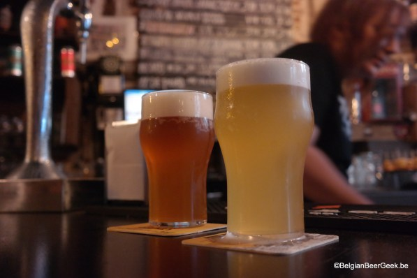 a couple of hazy IPAs at Fogg Bar in Madrid