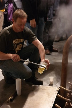 Checking the wort at Cantillon