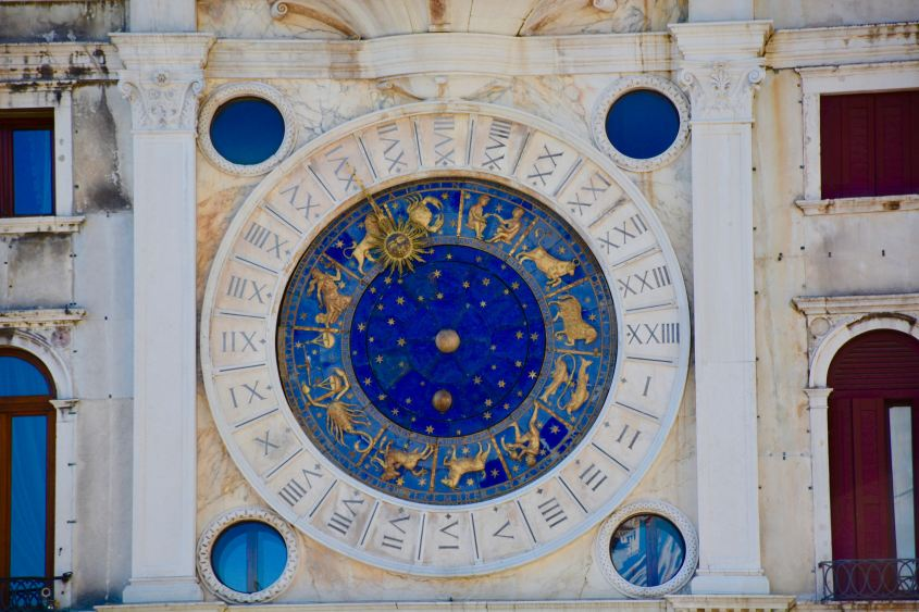 blue and white ritual wheel showing astrological chart