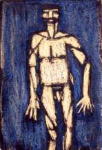 E as standing man. (oil pastel on paper)