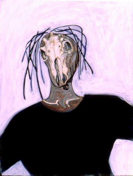 Self Portrait with Goat's Head, acrylic and pigment on paper, © Belinda Broughton