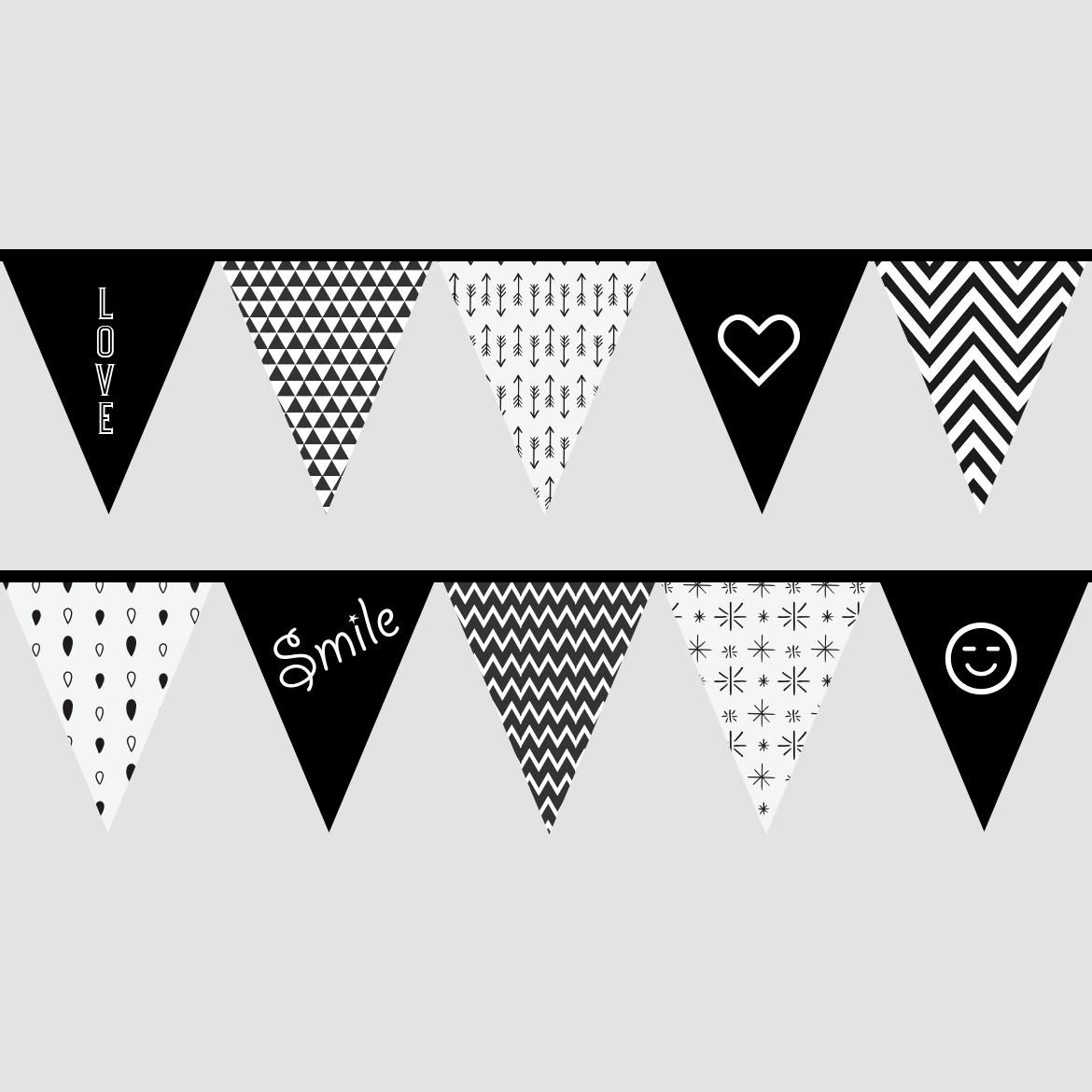 Black And White Bunting Flags Printables