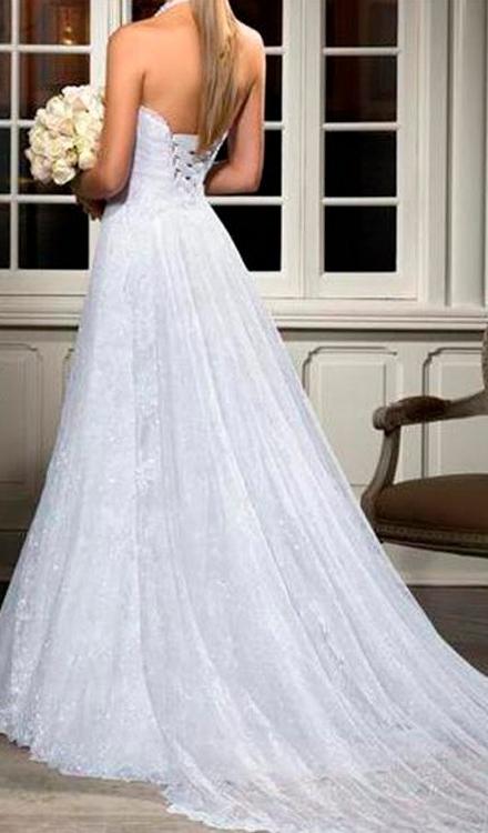Vestido de noiva classico com decote nas costas tracado - Bella Angela
