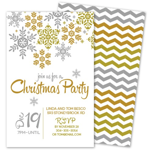 Silver Amp Gold Snowflake Christmas Party Invitation Bella Bug