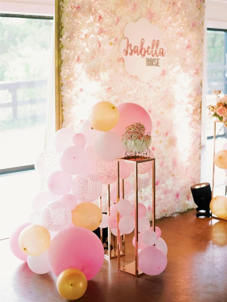 precious pink baby shower balloon arrangement