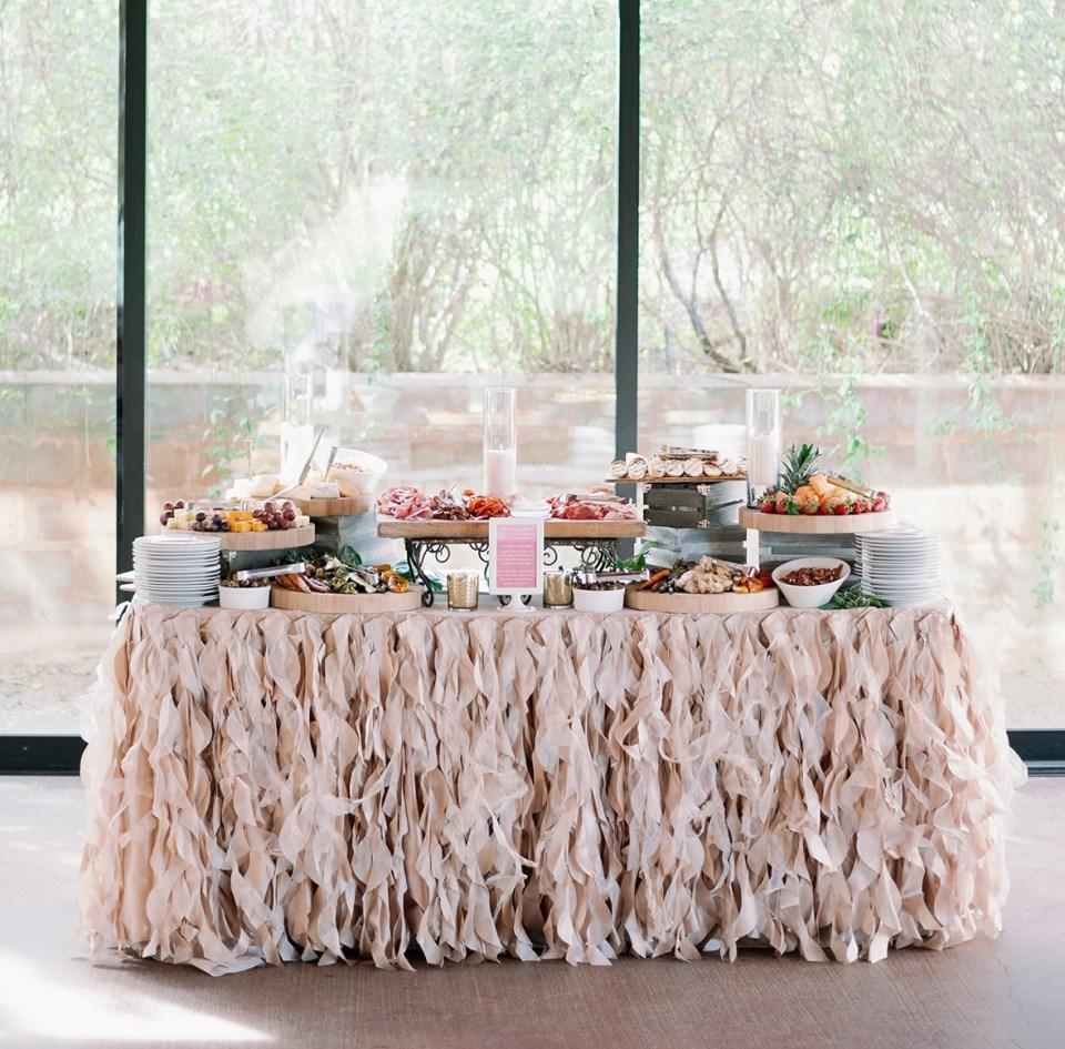 food buffet at precious pink baby shower