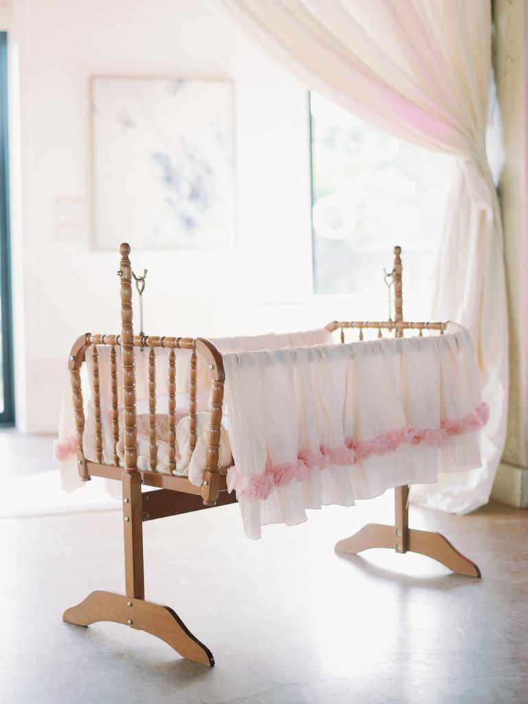 precious pink baby shower cradle