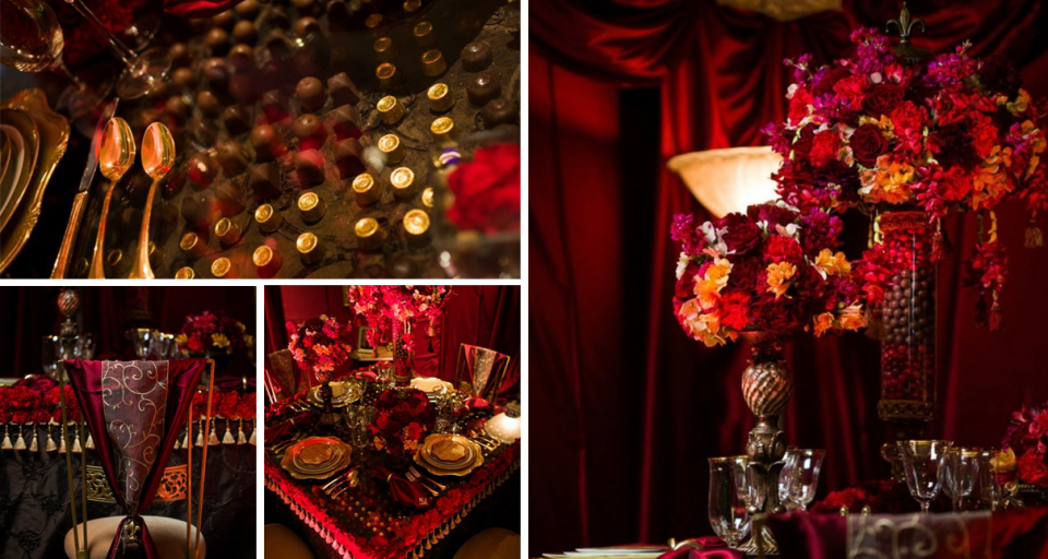 A decadent red wedding by talented event planners