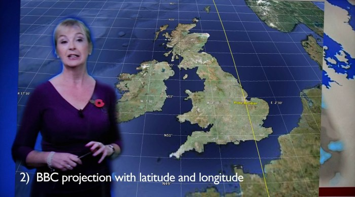 2) BBC Projection with latitude and longitude