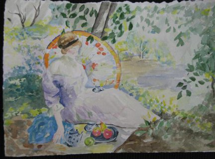 Study of Beur-Watercolor Painting by Bella Chartrand from Survival Reality TV Show Utopia National Academy Arts New York