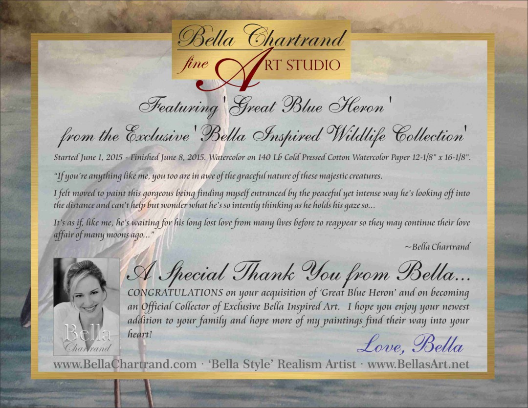 "Congratulations on Buying ""Great Blue Heron"" from Bella Inspired Wildlife Collection by Bella Chartrand from Utopia USA"