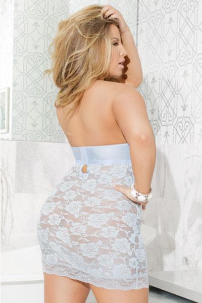 plus size atasi blue chemise - bella curves lingerie