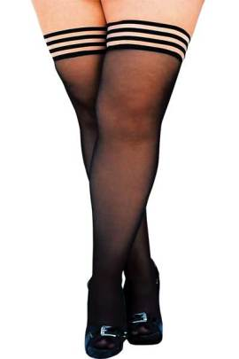 Kixies black sheer plus size tights