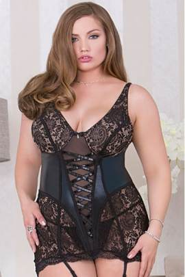 Faux leather and lace plus size chemise