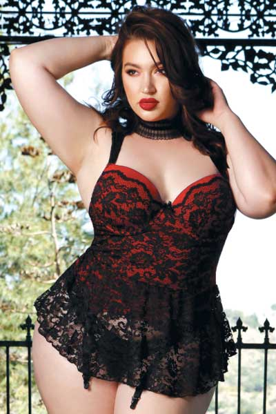 Plus size skirted bustier - bella curves lingerie